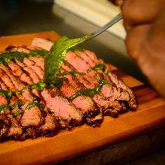 Mango - Jalapeno BBQ Flank Steak with Cilantro and Charred Lime Salsa Verde Bbq Flank Steak, Salsa Verde, Food Preparation, Cilantro, Mango, Lime, Beef, Beautiful, Manga