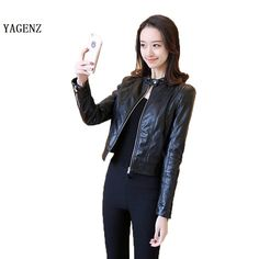 Autumn Motorcycle Jacket PU Lady Small Leather Sexy Women Leather Jacket Coat Slim Short Paragraph Diagonal Zipper Outerwear #Affiliate