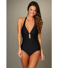 Splendid Solid One Piece Bathing Suit Black  ($97)