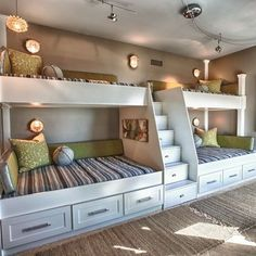 Extraordinary Wooden Bunk Beds Features Brown Mattress Bunk Bed And Whiate Rug Plus Small Black Chairs Furniture. Built In Bunk Beds Ideas Plants For Kids. Alocazia Awesome Home Design Ideas House Design, House, Bed Design, Home, Cozy House, Bed, Loft Spaces, Built In Bunks, Bunk Beds Built In