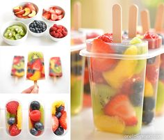 These fresh fruit popsicles are SO PRETTY! What a delicious and refreshing treat idea for summer! They're so easy to make and they're super healthy! Homemade Fruit Popsicles, Homemade Ice, Frozen Popsicles, Popsicle Recipes, Raw Food Recipes, Snack Recipes, Dairy Free Deserts, Glace Fruit, Healthy Snacks To Make