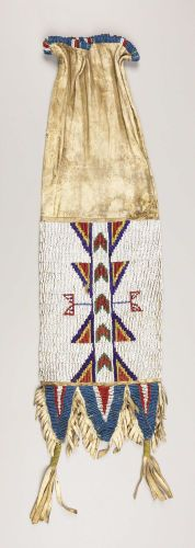 American Indian Art:Beadwork, A SIOUX BEADED HIDE TOBACCO BAG. . c. 1890. ...