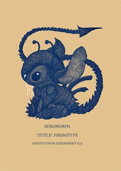 Stitch Xenomorph Alien Hybrid A4 Print