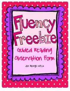 {freebie} Fluency Observation Form