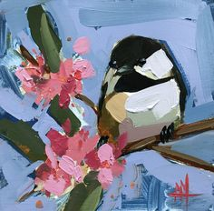 Chickadee no. 926 Original Bird Oil Painting by Angela Moulton 6 x 6 inch on Wood pre-order by prattcreekart on Etsy