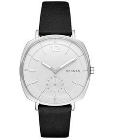 Skagen Women's Chronograph Black Leather Strap Watch 34x39mm SKW2403 | macys.com