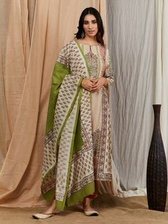 Multicolor Hand Block Printed Cotton Silk Suit - Set of 3 Ethnic Outfits, Indian Outfits, Cotton Silk, Printed Cotton, Silk Kurti Designs, Classy Suits, Indian Designer Suits, Hijab Fashion Inspiration, Silk Suit