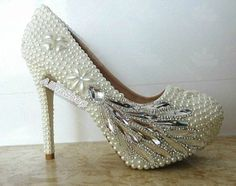 RHINESTONE & PEARL SHOES | Wedding Shoes Peacock Clean Rhinestone ivory Pearl by AlinaShop, $165 ...