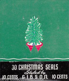 Vtg Christmas Tree 27 Gummed Stickers 1940s Gift Package Seal Scrapbook Crafts