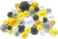 40 Pinwheels Yellow Grey White Wedding Event Decor by DECORBYTORIA, $130.00