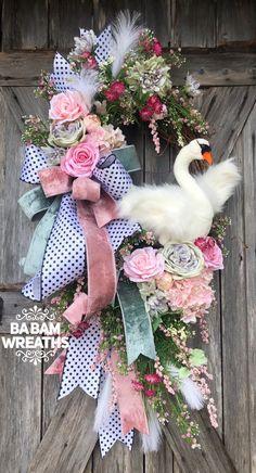Reserved for Alia : Swan Wreath, Spring Wreath, Easter Wreath, Valentine Wreath Summer Door Wreaths, Easter Wreaths, Holiday Wreaths, Holiday Decor, Spring Wreaths, Valentine Wreath, Valentine Crafts, Valentine Ideas, Printable Valentine