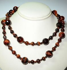 Chunky Tiger Eye Beaded Necklace w Sterling by VintageClothesNJunk
