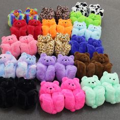 Bear Slippers, Cute Slippers, Cute Lazy Outfits, Swag Outfits For Girls, Stylish School Bags, Fluffy Shoes, Faux Fur Slides, Jordan Shoes Girls, Flip Flop Shoes