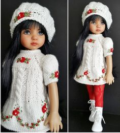 "DRESS,BERET,BOOTS SET MADE FOR EFFNER LITTLE DARLING 13"",MY MEADOW DOLLS #Unbranded"