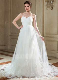 [US$ 196.99] Empire Sweetheart Chapel Train Chiffon Tulle Wedding Dress With Ruffle Appliques Lace