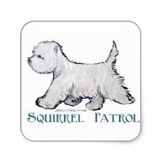 Westie Squirrel Patrol Stickers