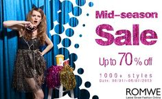 1.  Over 1000 styles with up to 70% off  2.  Valid date: 06/01~ 06/07/2013  Go: http://www.romwe.com/Mid-season-Sale-c-213.html?haibao1