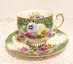 Rosina Green White Floral Footed Tea Cup & Saucer