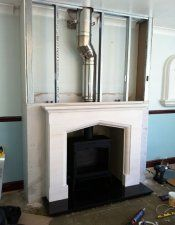 Bring chimney out with off tube – Farmhouse Fireplace Mantels Wood Burner Fireplace, Farmhouse Fireplace Mantels, Fireplace Built Ins, Home Fireplace, Fireplaces, Chimney Breast, Farmhouse Remodel, Log Burner, Blue Rooms