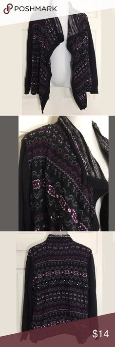 Style & Co Large Black, Purple Open Front Cardigan Beautiful Style & Co Open Front Cardigan. Style & Co Sweaters Cardigans