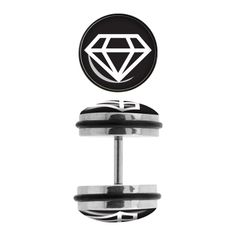 Steel Faux Plugs with White Diamond Logo Fronts. Sold as a pair Fake Plugs, Ear Gauges, Fake Piercing, Body Piercings, Diamond Logo, Diamond Design, Body Jewelry, Jewlery, Jewelry Accessories