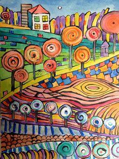 Landscape in the style of Hunderwasser (Upper Grade) | Art ...