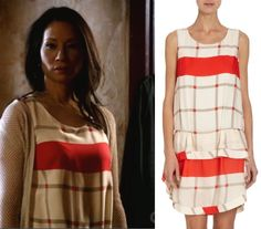 Elementary, Season 2, Episode 14: Joan Watson's (Lucy Liu) Thakoon Addition Ruffled Tiered Bottom Check Dress #getthelook #elementary #joanwatson