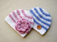 Twin boy and girl hats set Newborn twin hats Baby twin by JURGOSS