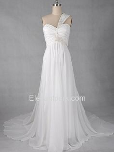 Chic Sheath One Shoulder Empire Chiffon Wedding Dress (950-1), perfect destination wedding dress!
