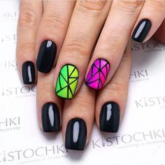 Glossy- Matte Geometric Nail Art Combo. This gradient glossy-matte geometric nail art is worth giving a shot. You can use different colors to give it your own creativity.