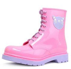 PVC Cartoon Candy Color Flat Heels Rain Boots