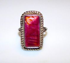 Vintage Native American Navajo Charlie Bowie Sterling Silver Purple Spiny Oyster Statement Ring Size 7.5