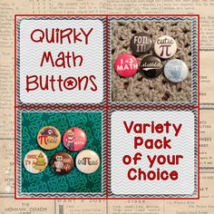 Quirky Math Buttons- Variety Pack of YOUR choice! Available in quantities from 3-200! #math #teacher