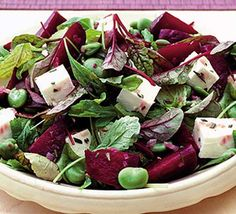 Beetroot Bean & Feta Salad    1. Cook broad beans according to instructions  2. Fry chopped shallot and sliced garlic 2min  3. Stir in chopped rosemary & beetroot quarters fry 3mins  4.Lift out the beetroot quarters and  Stir the vinegar and the remaining olive oil into the pan juices, then pour over the beetroot and salad leaves. Toss gently to mix through. Finally, just before serving, toss in the broad beans and cubes of feta cheese and taste for seasoning.