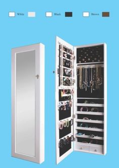 Mirrored-Jewelry-Armoire-Cabinet-Storage-Wall-Mount-Hang-over-the-Door-Case-box