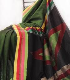 Buy Moss Green Big Barfi Aanchal Tussar Handloom Saree hand-woven-saree online