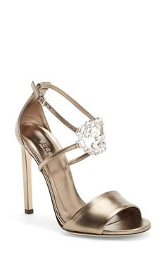 Free shipping and returns on Gucci 'GG' Logo Ankle Strap Sandal (Women) at Nordstrom.com. The interlocking G logo done in sparkling diamanté crystals adds a double dose of luxe to this strappy leather sandal from Gucci. A slim, squared-off heel completes the elegant look.