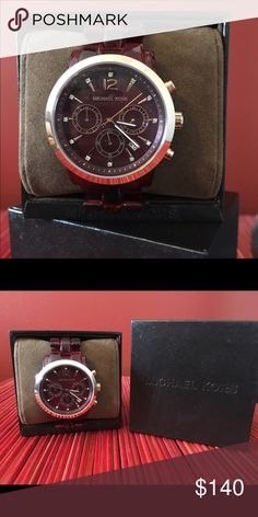 Michael Kors burgundy watch Gorgeous burgundy Michael Kors watch with gold rim. NWOT in box. GORGEOUS!!!! One of a kind. MICHAEL Michael Kors Accessories Watches