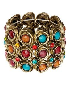 Another great find on #zulily! Gold & Teal Dot Stretch Cuff #zulilyfinds