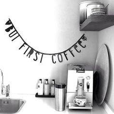 #Wordbanner #tip: But first coffee - Buy it at www.vanmariel.nl - € 11,95, 2 for € 20