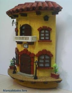 MANUALIDADES, BELLAS ARTES Y ENMARCACION TERE MOTA: Tejas decoradas Biscuit, Clay Flower Pots, Decoupage, Gnome House, Fairy Garden Houses, Trash To Treasure, Miniature Houses, Tile Art, Clay Art