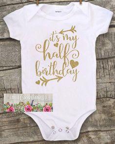 Baby girl clothes baby girl shirt half birthday bodysuit