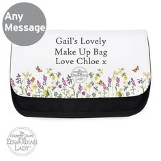 Personalise this Make up Bag with any message over 3 lines of text up to 20 characters per line. All personalisation is case sensitive and will appear as entered.  Our makeup bags features a main compartment and two separate compartments inside all of which are secured with a Velcro close, the main body of the bag is a woven polyester.  This product is unfortunately not available on next day.  Perfect for Birthdays, Mother's Day, For Her.