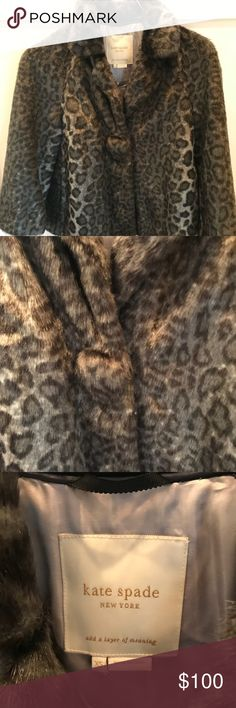 "Kate Spade NewYork XS  Fur Jacket Animal Print Adorable Kate Spade NewYork XS Faux Fur Jacket Grey Animal Print. Impeccable condition. Never worn Large button covered button front. Grosgrain ribbon on back. 90% acrylic, 100# acetate-soft silver  lining. Raglan sleeve. Underarm to underarm 18, shoulder to shoulder 17"", length 24"", sleeve 21"" . Originally $400 kate spade Jackets & Coats"