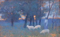 """Alphonse OSBERT (1857-1939) Scène pastorale au soleil couchant, 1893. Huile sur panneau. Signé et daté """"93"""" en bas à droite; contresigné et daté au verso. 35,5 x 56 cm. - Blanchet & Associés - 20/05/2015"""