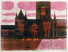 'Salisbury Cathedral' by Robert Tavener Lino Prints, Painting Prints, Salisbury Cathedral, Printmaking Ideas, Lino Cuts, Ghost Stories, Textile Art, Britain, Buildings