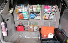 trunk organization  If you travel, have kids, sports, etc...this is great!!