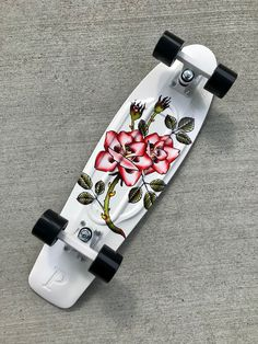 Nickel Rosebud Cruiser Complete Skateboard i want this with my whole hearti want this with my whole heart Painted Skateboard, Skateboard Deck Art, Penny Skateboard, Electric Skateboard, Skateboard Design, Skateboard Girl, Skateboard Shelves, Surfboard Art, Custom Skateboards