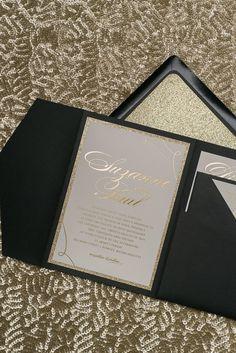 LAUREN Suite Glitter Pocket Folder Package, gold glitter, gold foil stamping, black and gold wedding invitations