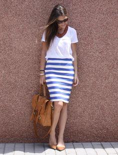 blue stripes, white shirt, camel bag